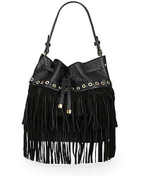 Sondra Roberts Studded Fringe Bucket Bag