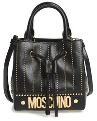 Studded leather bucket bag black medium 1195600