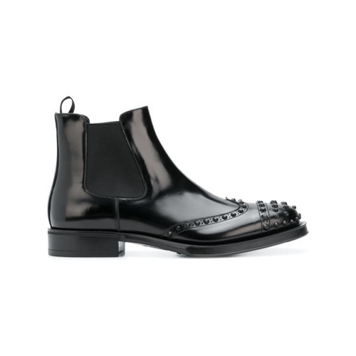 7071cb63395 $920, Prada Perforated Studded Chelsea Boots