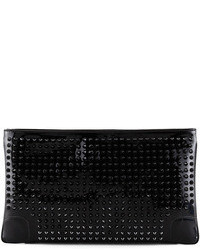 Black Studded Leather Clutch