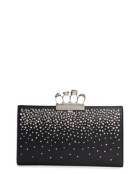 Alexander McQueen Four Ring Studded Knuckle Clasp Leather Clutch