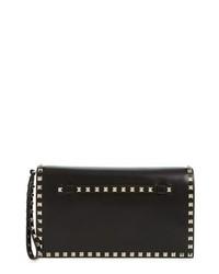 Rockstud calfskin leather clutch medium 8685608