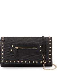 Neiman Marcus Aria Studded Faux Leather Crossbody Bag Black