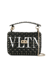 Valentino Black Vltn Rockstud Spike Leather Shoulder Bag