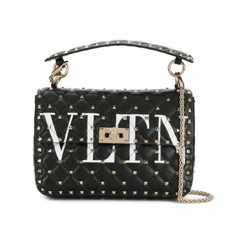Valentino Black Vltn Rockstud Spike Leather Shoulder Bag