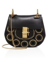 Chloé Chloe Drew Small Studded Circle Leather Saddle Crossbody Bag