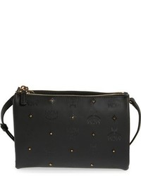 MCM Claudia Studded Faux Leather Crossbody Bag Black