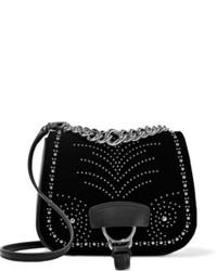 Miu Miu Dahlia Studded Velvet And Leather Shoulder Bag Black