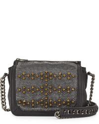 Ash Electra Studded Crossbody Bag Blackgunmetal