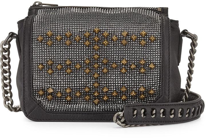 Black Studded Leather Crossbody Bags Ash Electra Bag Blackgunmetal