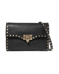 Valentino Garavani The Rockstud Textured Leather Shoulder Bag
