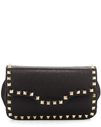 Neiman Marcus Holland Studded Crossbody Bag Black