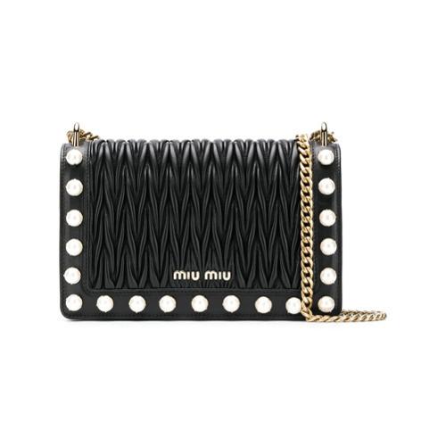 Miu Miu Matelass Pearl Detail Shoulder Bag