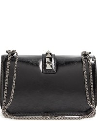 Valentino Garavani Medium Lock Studded Leather Shoulder Bag Black