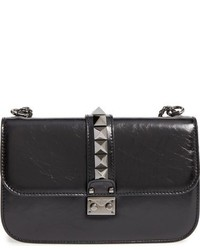 Medium lock studded leather shoulder bag black medium 816897