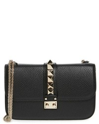 Valentino Garavani Medium Lock Studded Leather Shoulder Bag Black