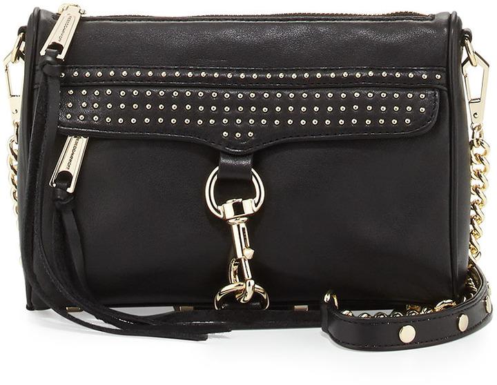 Rebecca Minkoff Mini Mac Micro Studded Leather Crossbody Bag Black