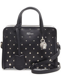 Alexander McQueen Mini Studded Padlock Zip Around Tote Bag Blackwhite