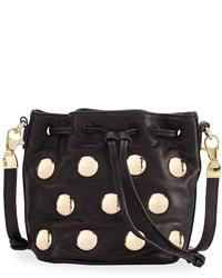 Cynthia Rowley Paisley Studded Leather Crossbody Bag Black