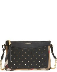 Burberry Peyton Studded Leather Crossbody Bag Black