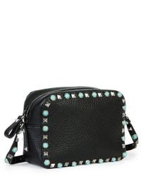 Valentino Rockstud Rolling Small Zip Top Camera Bag Black