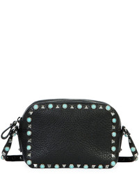 Valentino Rockstud Rolling Small Zip Top Camera Bag Black