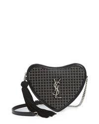 Saint Laurent Sac Coeur Studded Leather Crossbody Bag