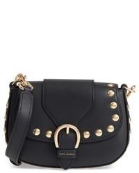 Marc Jacobs Small Studded Navigator Leather Saddle Bag Black