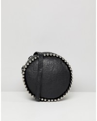 Missguided Stud Detail Circle Cross Body Bag In Black