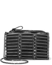 Valentino Studded Grid Glossed Textured Leather Shoulder Bag Black