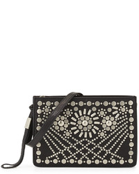 Foley + Corinna Sunburst Mini Studded Leather Crossbody Black