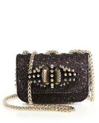 Christian Louboutin Sweety Charity Studded Shimmer Leather Textile Crossbody Bag