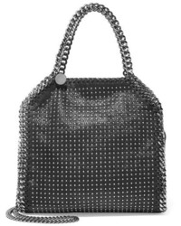 Stella McCartney The Falabella Mini Studded Faux Brushed Leather Shoulder Bag Black