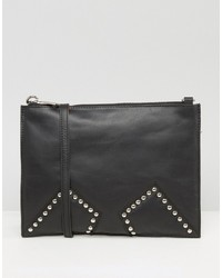 Urban Code Urbancode Black Real Leather Cross Body With Studded Inserts