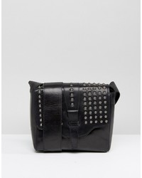 Urban Code Urbancode Black Real Leather Festival Cross Body Bag With Pewter Studded Flap