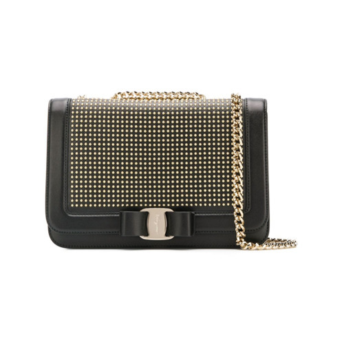 Salvatore Ferragamo Vara Bow Studded Shoulder Bag