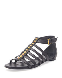 Alexander McQueen Studded Flat Cage Sandal Black