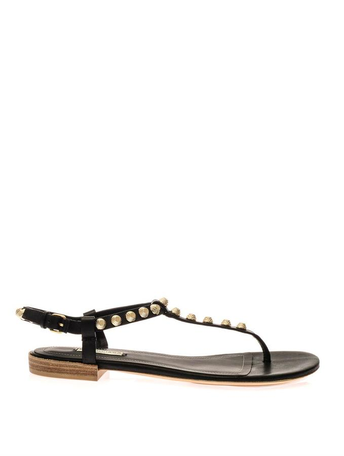 e530dad0395a ... Leather Flat Sandals Balenciaga Arena Studded Flat Sandals ...