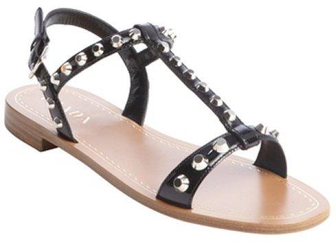 Black T-Strap Flat Sandals Prada yUt4b