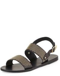 Dinami studded two band sandal black medium 305704