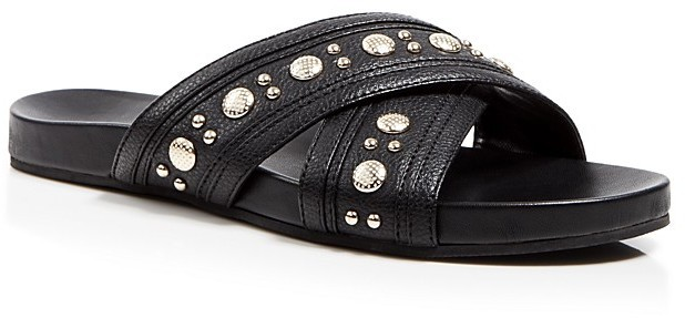 7f0dfaf1491 $110, Rebecca Minkoff Flat Slide Slip On Sandals Tori Studded