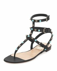 Garavani rockstud rolling flat thong sandal medium 743449