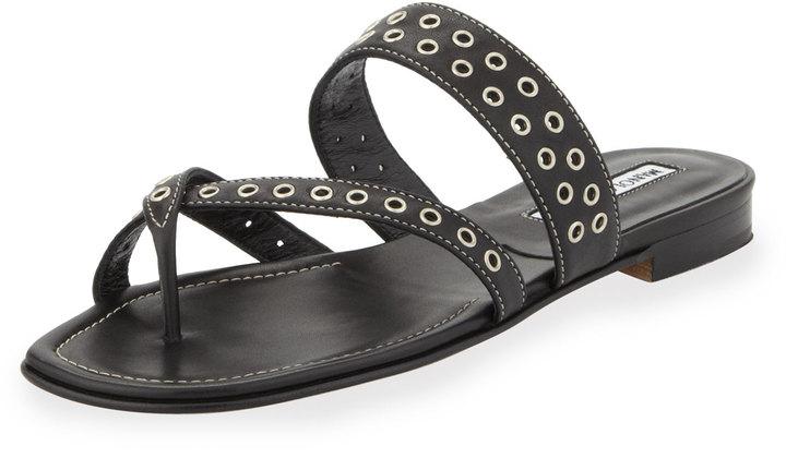 acea075d4ffcc Manolo Blahnik Susaocc Leather Grommet Flat Thong Sandal Black, $745 ...