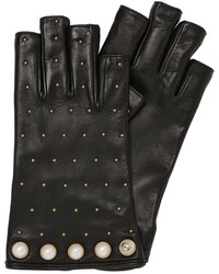 Gucci Studded Cut Off Leather Gloves