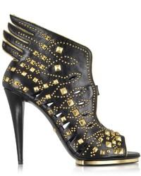 Roberto Cavalli Angel Black Leather Studded Sandal