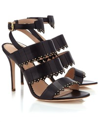 Aperlaï Aperlai Black Studded Leather Zanna Heels