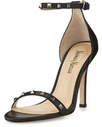 Neiman Marcus Bailie Studded Leather Sandal Black