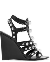Balenciaga Studded Textured Leather Wedge Sandals Black
