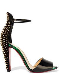 Christian Louboutin Tropanita 100 Studded Patent Leather Sandals Black