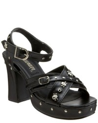 Demonia Gothika 02 Black Skull Studded Sandals